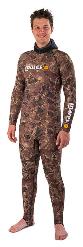 Камуфлажен костюм за подводен риболов от ликра Rash Guard Camo Brown - Mares